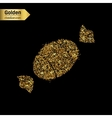 Gold glitter icon of sweet isolated on vector image
