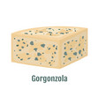 gorgonzola italian blue cheese with mold vector image