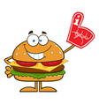 Hamburger Cartoon with a Foam Finger vector image vector image