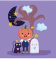 happy halloween with pumpkin costume ghost vector image vector image
