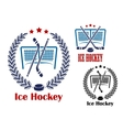 Ice hockey net emblems vector image