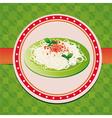 italian spaghetti on green plate vector image vector image