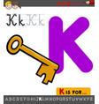 letter k worksheet with cartoon key vector image