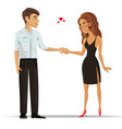 man and woman in love holding hands vector image vector image