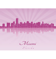 Miami skyline in purple radiant orchid vector image vector image