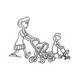 mothers parenting mothers push baby outlined vector image vector image