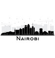 nairobi kenya city skyline silhouette with black vector image vector image
