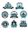 nautical icons and marine symbols set vector image vector image