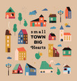 poster with small tiny houses streets vector image vector image