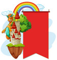 red banner with dragon at the tower vector image vector image