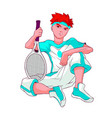 redheaded teenager in white blue sports clothes vector image