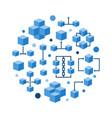 round blockchain technology flat blue vector image vector image