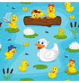 seamless pattern with ducks on lake vector image vector image