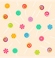 seamless pattern with lollipop sweet candies vector image