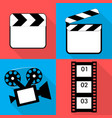 set of icons on a theme in flat video vector image vector image