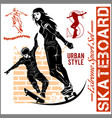 skateboarders - set of extreme sport vector image
