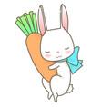 sleeping white rabbit hug carrot cartoon character vector image