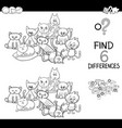spot the difference with cats coloring book vector image vector image