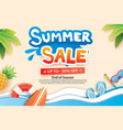 summer sale with paper cut symbol and icon for vector image vector image