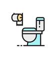 toilet bathroom wc flat color line icon vector image vector image