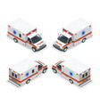 transport isometric set ambulance van isolated vector image vector image