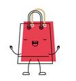 Trapezoid animated kawaii shopping bag icon with