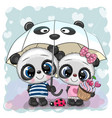 two cartoon pandas with umbrella under rain vector image vector image