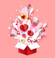 valentines day paper cut open gift box vector image vector image