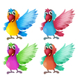 Four adorable parrots vector image
