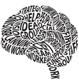 conceptual abstract word cloud in brain shape vector image