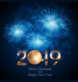 2019 new year background with christmas ball vector image vector image