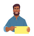 african man holding blank card vector image vector image