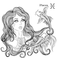 Astrological sign of Pisces as a beautiful girl vector image vector image