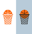 Basketball logo Ball and net for basketball games vector image vector image