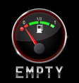 black fuel gauge with metal frame empty tank vector image