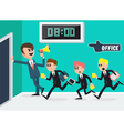 Boss with Megaphone Workers Running to Office vector image vector image