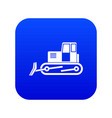 bulldozer icon digital blue vector image