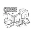 cheese hand drawn sketch engraving vector image vector image