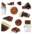 chocolate icon set different kinds cacao vector image vector image