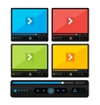 colorful video player skin set vector image vector image