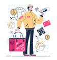 courier standing with order package vector image