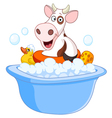cow taking a bath vector image vector image