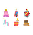 cute fairy tales characters set princess prince vector image
