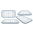 detailed set of a icehockey rink field court with vector image