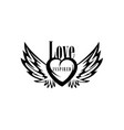 drawn of a heart and wings vector image