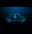 electric car icon form lines and particle vector image vector image