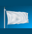 empty white clear flag waving in clean blue sky vector image vector image