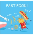Fast Food Cartoon Characters Banner vector image vector image