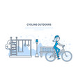 girl rides in park and entertainment outside home vector image vector image