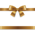 golden bow isolated white background vector image vector image
